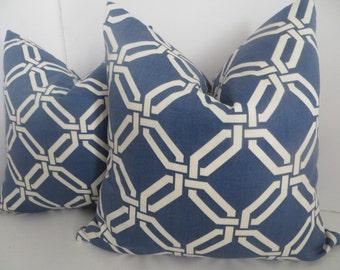 16x16 Pillow Covers -Pillows - Blue Pillow -White Pillow- Geometric Pillow- Blue Pillow- Home Decor- Home Pillow