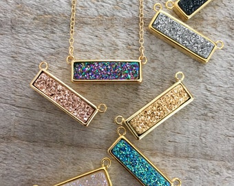 Druzy Bar Necklace, Druzy Necklace, Bar Necklace, Drusy Necklace, Druzy Jewelry, Titanium Druzy Necklace