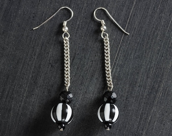 50% OFF SALE Black & White Striped Goth Retro Acrylic Drop Bead Earrings, Sterling Silver Chain and Ear Hooks Jewelry