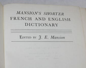 Vintage French and English dictionary Mansion's shorter