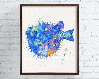 Watercolor Fish, Bathroom Decor, Coastal Wall Art, Sea Life Art, Nursery Wall Decor, Beach Art Print, Blow Fish Art Print, Fish Painting