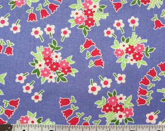 Lakehouse Dry Goods Periwinkle Blue Tulip Toss 1930's Reproduction Quilt Fabric