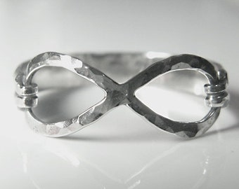 Sterling Silver Infinity Symbol Ring (hammered finish)