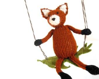 Fox Baby Mobile, Woodland Nursery Decor, Fox Hanging Mobile, Fox Nursery, Knit Animal Mobile, Woodland Nursery, Knit Fox Fiber Sculpture