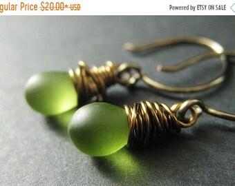 MOTHERS DAY SALE Green Teardrop Earrings Wire Wrapped in Bronze - Elixir of Granny Apples. Handmade Earrings.