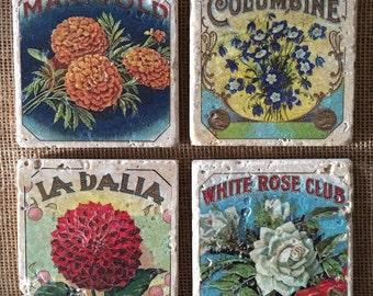 Vintage Floral Cigar Label Design Natural Travertine Tile Coasters - Set of 4 Coasters - Housewarming Gift