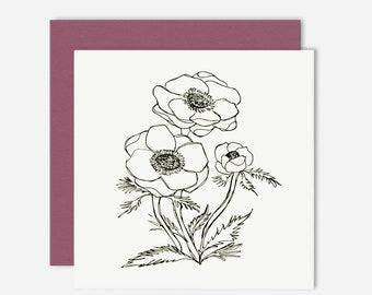 Anemone / Floral Greeting Card / Illustration