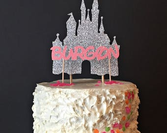 Disney Castle Personalized Name cake topper, cupcake topper, gold cake topper