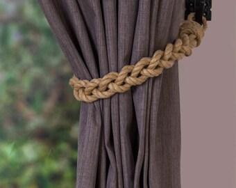 Chunky Beige Hemp Rope Braided Curtain Tie Backs / nautical living room window treatment/ Drape hold backs/ shabby chic curtain tiebacks