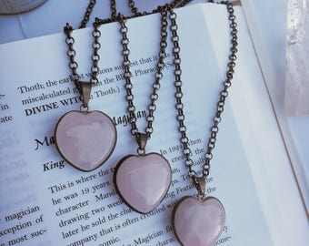 Rose Quartz Heart Elecroformed Pink Jewelry Romantic Healing Gift for Her