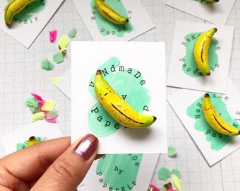 Handpainted Freckly Banana Clay Brooch