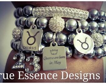 Taurus Zodiac Bracelet made w/Hematite (4) Bracelets