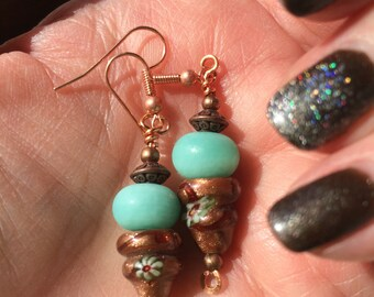 Boho Chic Aqua and Copper Lampwork  Venetian Milifiore Dangle Earrings Lampwork Earrings Glass Earrings