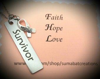 Survivor charm necklace,Cancer survivor jewelry,Hope charm necklace,Cancer survivor and hope necklace,Cancer awareness necklace,Hope