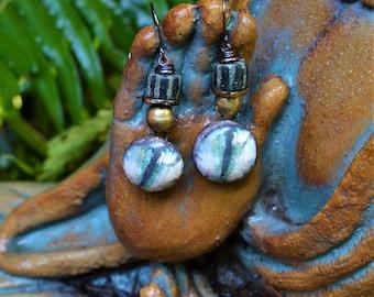 Clay Cat Eye Decal Drop Earrings Hand Made African Trade Bead Boho Rustic Dangle