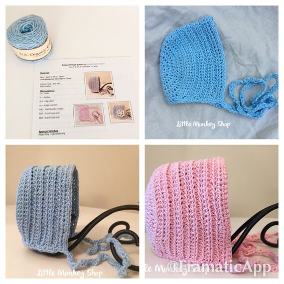 Baby Bonnet Crochet Kit Crochet Pattern And Yarn Baby Bonnet