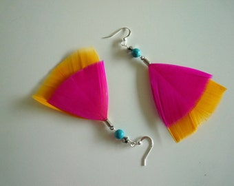 Hot Pink and Cantaloupe Earrings FIESTA/16