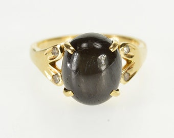 18k Oval Black Star Sapphire Diamond Accented Ring Gold