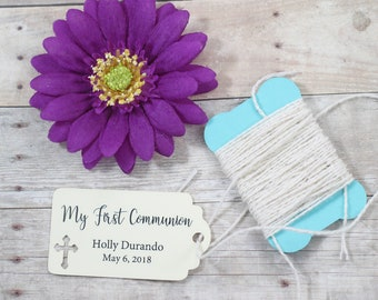 My First Communion Tags 20pc - Thank You Tags for Confirmation - Cream Catholic Labels - Small Personalized Christian Tags for Christening