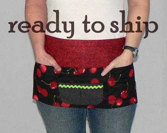 Sweet Cherry utility apron with 6 pockets- includes a secure zip pocket- great for farmers market, teacher, waitress, new mom, photographers