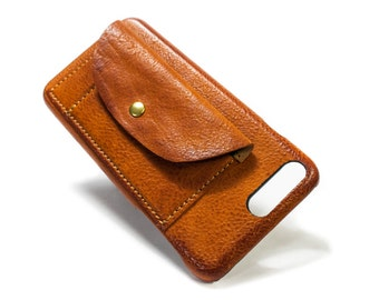"""NEW iPhone 8 and 7 4.7"""" or 8 7 PLUS 5.5"""" Leather Case handmade in Italy with 2 credit cards holders and a flap Device and Colour to CHOOSE"""