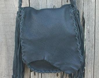 Leather possibles bag , Fringed leather crossbody bag, Handmade handbag