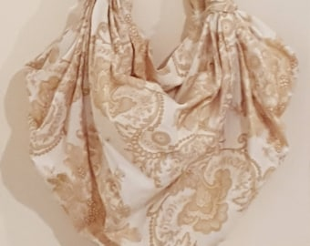 Furoshiki Hobo Bag - Cream and large beige paisley swirls