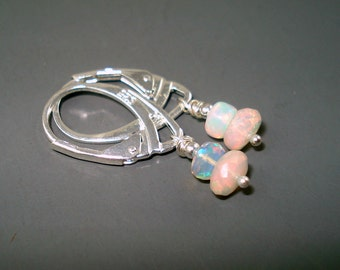 Opal Earrings with Sterling Silver Leverback Wires and Two Blue Pink Ethiopian Opals