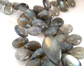 Smooth Blue Fire Labradorite Pear Briolette. Grey Pear Briolette Bead. Semi Precious Gemstone Briolette. 8-9mm. 6 Bead Strand