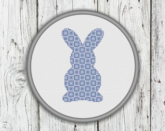 Modern Cute Blue Easter Bunny Counted Cross Stitch Pattern - Instant Download