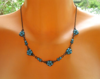 Mother of the bride jewelry, Wedding jewelry,Turquoise Swarovski crystal floral necklace, Bridesmaid gift, Mother of bride