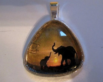 Elephant and Baby Pendant or Scarf Slide, scarf jewelry, scarf ring