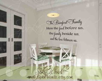 Personalized Family Kitchen Decal Vinyl Wall Decal....Your choice of color""