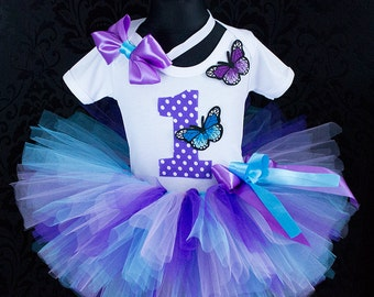 Purple blue Butterfly tutu birthday tutu outfit 1st 2st 3st Birthday tutu outfit Birthday Tutu Set baby tutu from Europe