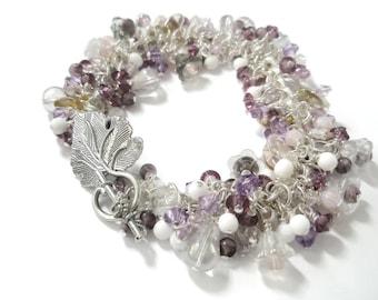 Beaded Bracelet Lilac Purple Silver Flowers Crystal Glass Vintage bead mix  Chunky Charm statement piece