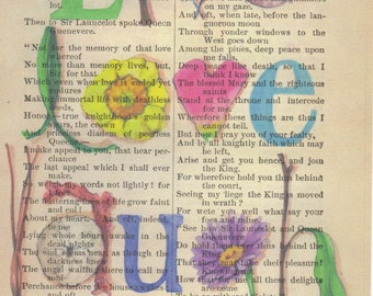 Live Love Laugh Print on Antique Book Page Signed & Ships FREE in US