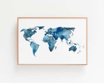 Watercolor world map etsy watercolor world map art print blue watercolor map adventure awaits home decor wall art cartography gumiabroncs Images