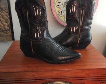 1990s Flings ankle cowboy boots with cutout details