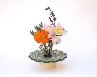 Petite Flower Vase, Kiln-Fired Pottery, Doily Lace Ikebana Flower Arranger, Christmas Gift . forest green