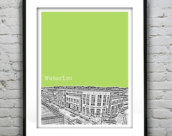 Waterloo Skyline Poster Art Print Ontario Canada Downtown