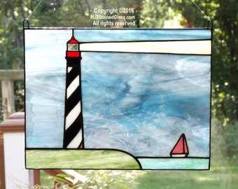 St. Augustine Lighthouse with Sailboat Stained Glass Panel, Nautical Decor, Beach Decor, Coastal Decor, Lighthouse Decor, Glass Art, Gift