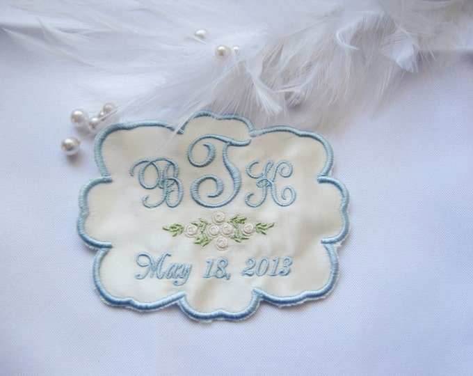 Cusom Made Monogrammed Wedding Dress Label with Rose Design and Scalloped Edge Trim