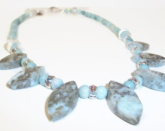 Rare Larimar Gemstone Necklace, 5 Focal Beads, Light Blue/Aqua and Grey Colors, Swarovski Crystal Rondelles, Matching Earrings, ME-243