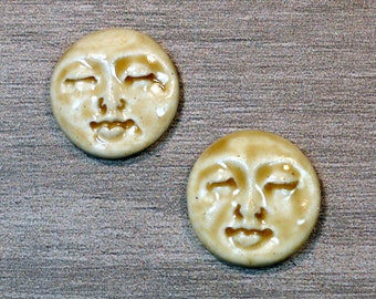 Pair of Two Medium Round Ceramic Face Stone Cabochons in Peachy Tan