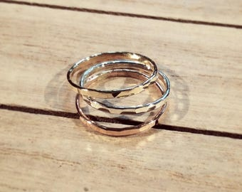 Hammered Stacking Rings Dainty Rose-Gold filled , Yellow Gold filled and Sterling Silver