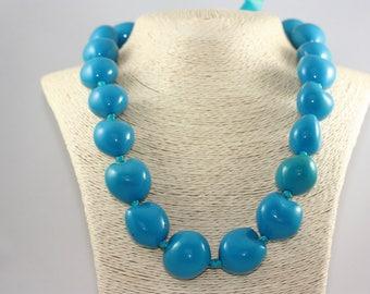 Light Blue Kukui Nut Lei | Natural Bright Colorful Island Pacific Unique Jewelry | La Isla Creations by Maribel