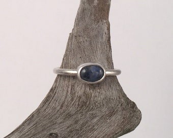 Sterling Silver Ring, Natural Sodalite Ring, Silver Ring, Blue Stone Ring, Stacking Ring, Gemstone Ring, Stackable Rings