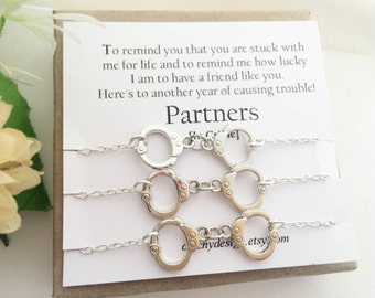 Set of-3-Partners in crime bracelets,Handcuff bracelet,Best friend gift,BFF,With Friendship Quote,Long Distance Friend-Set of three