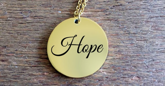 Word affirmation gift  Hope laser engraved round pendant necklace  18k Gold  positivity jewelry