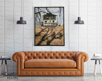 Abandoned house art, rural oil painting, rural landscape art, palette knI feel art, mysterious old farmhouse art, shadow art painting